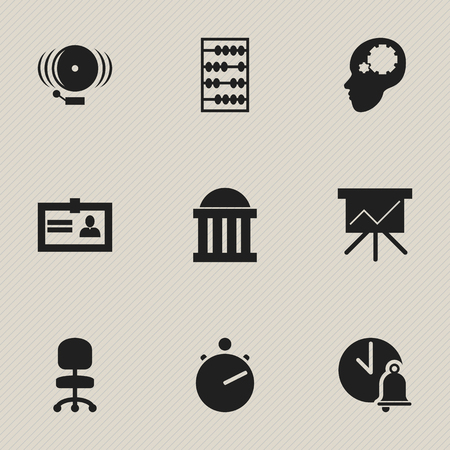 courthouse: Set Of 9 Editable Education Icons. Includes Symbols Such As Courtroom, Work Seat, Ring And More. Can Be Used For Web, Mobile, UI And Infographic Design. Illustration