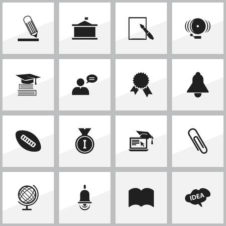 Ensemble de 16 icônes scientifiques modifiables. Comprend des symboles tels que l?université, l?apprentissage à distance, Bell, etc. Peut être utilisé pour la conception Web, mobile, UI et infographique.
