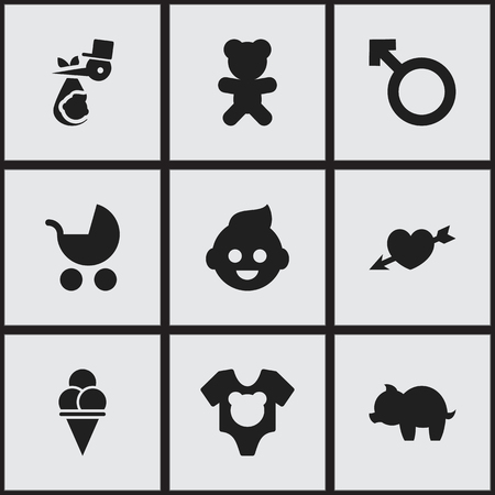 Set Of 9 Editable Folks Icons. Includes Symbols Such As Cold Dessert, Moneybox, Love And More. Can Be Used For Web, Mobile, UI And Infographic Design. Ilustração