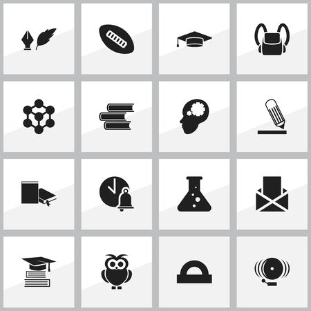 Set Of 16 Editable Education Icons. Includes Symbols Such As Library, School Bell, Bookmark And More. Can Be Used For Web, Mobile, UI And Infographic Design. Illustration