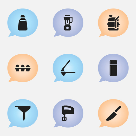 Set Of 9 Editable Cooking Icons. Includes Symbols Such As Hand Mixer, Egg Carton , Filtering. Can Be Used For Web, Mobile, UI And Infographic Design. Illustration