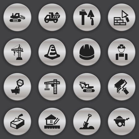 Set Of 16 Editable Structure Icons. Includes Symbols Such As Endurance, Lifting Equipment, Spatula And More. Can Be Used For Web, Mobile, UI And Infographic Design. Illustration