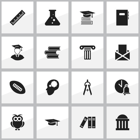 Set Of 16 Editable School Icons. Includes Symbols Such As Graduation Hat, Diplomaed Male, Envelope And More. Can Be Used For Web, Mobile, UI And Infographic Design.