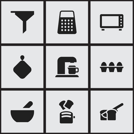 Set Of 9 Editable Meal Icons. Includes Symbols Such As Drink Maker, Shredder, Soup And More. Can Be Used For Web, Mobile, UI And Infographic Design. Çizim