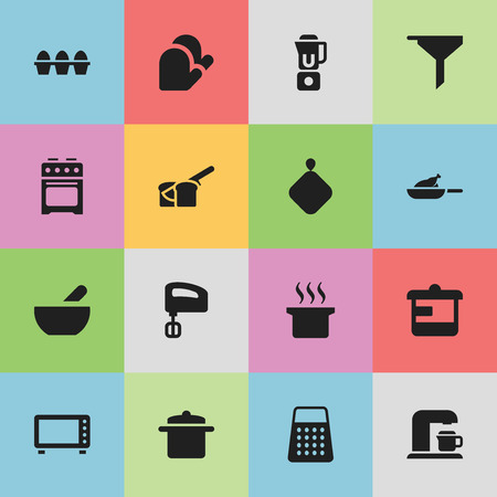 Set Of 16 Editable Meal Icons. Includes Symbols Such As Utensil, Bakery, Filtering And More. Can Be Used For Web, Mobile, UI And Infographic Design. Stock Vector - 76693201