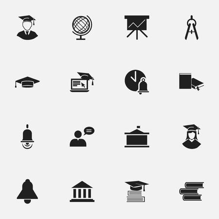 Ensemble de 16 icônes scolaires modifiables. Inclut des symboles tels que l'éducation, la bibliothèque, l'outil mathématique, etc. Vecteurs