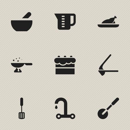 9 편집 가능한 요리 아이콘의 세트입니다. Knife Roller, Cooking Pan, Crusher 등의 기호가 포함되어 있습니다. 웹, 모바일, UI 및 인포 그래픽 디자인에 사용할