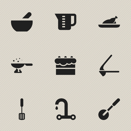 watery: Set Of 9 Editable Cooking Icons. Includes Symbols Such As Knife Roller, Cooking Pan, Crusher And More. Can Be Used For Web, Mobile, UI And Infographic Design.