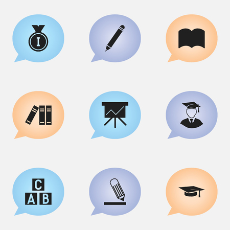 Set Of 9 Editable Graduation Icons. Includes Symbols Such As Diplomaed Male, Dictionary, Chart Board And More. Can Be Used For Web, Mobile, UI And Infographic Design. Ilustração