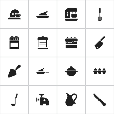 originator: Set Of 16 Editable Cooking Icons. Includes Symbols Such As Pastry, Fried Chicken, Boiler And More. Can Be Used For Web, Mobile, UI And Infographic Design. Illustration