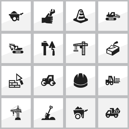 tractor warning: Set Of 16 Editable Construction Icons. Includes Symbols Such As Notice Object, Excavation Machine, Trolley And More. Can Be Used For Web, Mobile, UI And Infographic Design.