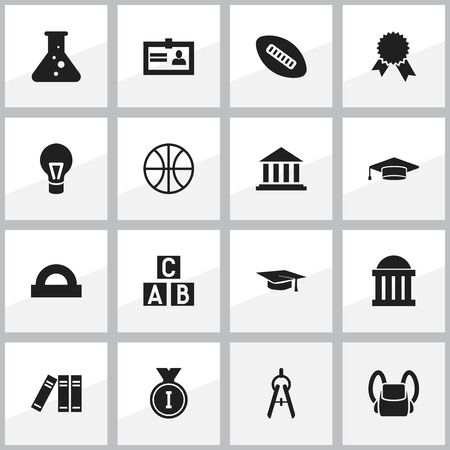Set Of 16 Editable Education Icons. Includes Symbols Such As Museum, Semicircle Ruler, Alphabet Cube And More. Can Be Used For Web, Mobile, UI And Infographic Design. Ilustração