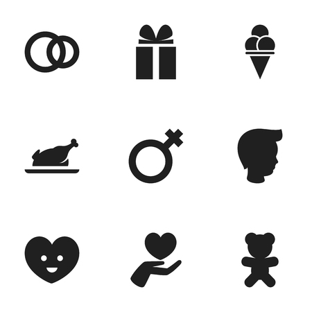mother and baby: Set Of 9 Editable Kin Icons. Includes Symbols Such As Gift, Toy, Cold Dessert And More. Can Be Used For Web, Mobile, UI And Infographic Design. Illustration