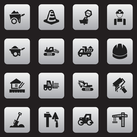 agricultural engineering: Set Of 16 Editable Construction Icons. Includes Symbols Such As Home Scheduling, Caterpillar, Trolley And More. Can Be Used For Web, Mobile, UI And Infographic Design. Illustration