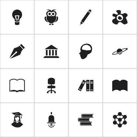 Set Of 16 Editable School Icons. Includes Symbols Such As Museum, Pencil, Astrology And More. Can Be Used For Web, Mobile, UI And Infographic Design.