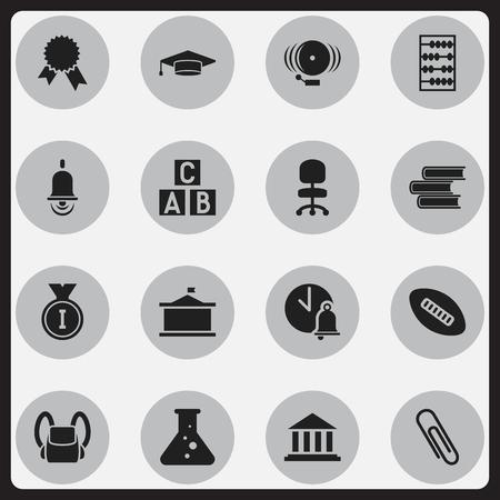 Ensemble de 16 icônes universitaires modifiables. Comprend des symboles tels que première place, bibliothèque, siège de travail, etc. Peut être utilisé pour la conception Web, mobile, UI et infographique.