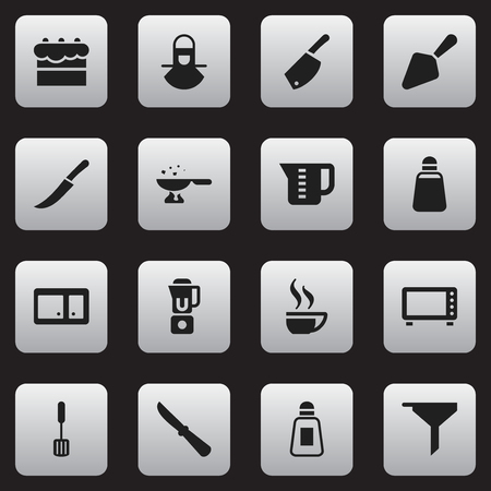 Set Of 16 Editable Meal Icons. Includes Symbols Such As Filtering, Sword, Food Shovel And More. Can Be Used For Web, Mobile, UI And Infographic Design.