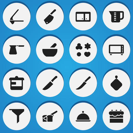 Set Of 16 Editable Cook Icons. Includes Symbols Such As Sideboard, Bakery, Salver And More. Can Be Used For Web, Mobile, UI And Infographic Design.
