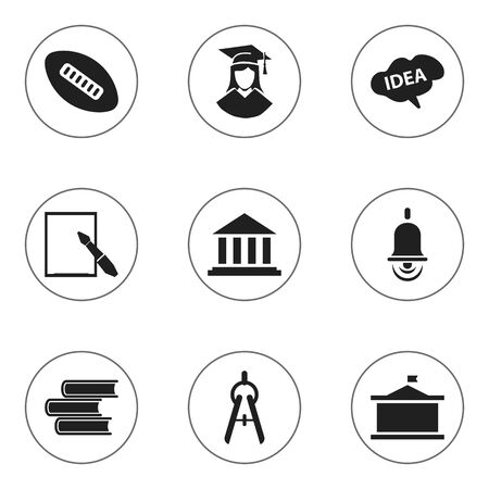 univercity: Set Of 9 Editable School Icons. Includes Symbols Such As Museum, Math Tool, Univercity And More. Can Be Used For Web, Mobile, UI And Infographic Design. Illustration