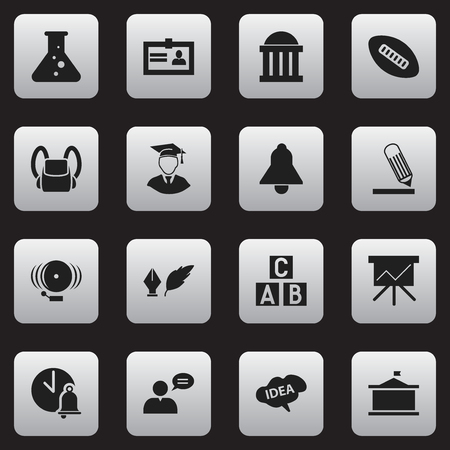 baccalaureate: Set Of 16 Editable University Icons. Includes Symbols Such As Thinking Man, Chart Board, Oval Ball And More. Can Be Used For Web, Mobile, UI And Infographic Design.
