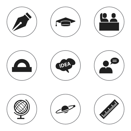 Set Of 9 Editable Science Icons. Includes Symbols Such As Earth Planet, Mind, Student And More. Can Be Used For Web, Mobile, UI And Infographic Design. Illustration