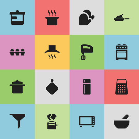 Set Of 16 Editable Cook Icons. Includes Symbols Such As Kitchen Glove, Soup Pot, Oven And More. Can Be Used For Web, Mobile, UI And Infographic Design. Illustration