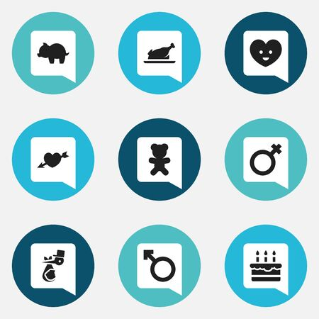 Set Of 9 Editable Folks Icons. Includes Symbols Such As Woman Sign, Soul, Moneybox And More. Can Be Used For Web, Mobile, UI And Infographic Design.