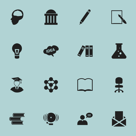 envelope: Set Of 16 Editable University Icons. Includes Symbols Such As Envelope, Ring, Cerebrum And More. Can Be Used For Web, Mobile, UI And Infographic Design. Illustration