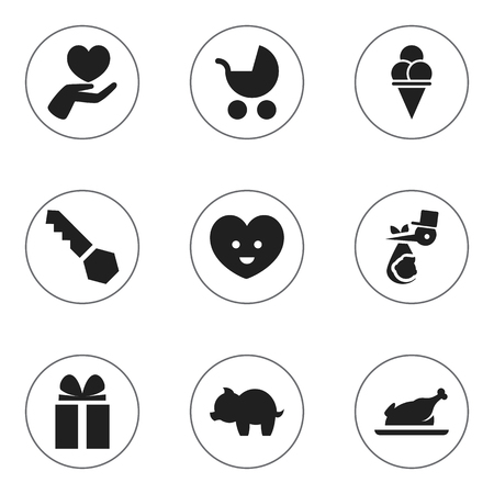 Set Of 9 Editable Folks Icons. Includes Symbols Such As Moneybox, Lock, Heart And More. Can Be Used For Web, Mobile, UI And Infographic Design. Imagens - 76781956