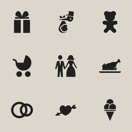 Set Of 9 Editable Folks Icons. Includes Symbols Such As Child, Cold Dessert, Toy And More. Can Be Used For Web, Mobile, UI And Infographic Design. Ilustração
