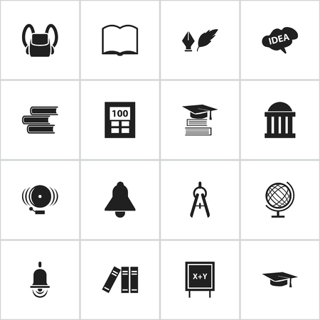 Set Of 16 Editable Graduation Icons. Includes Symbols Such As Bookshelf, Ring, Bell And More. Can Be Used For Web, Mobile, UI And Infographic Design. Ilustração
