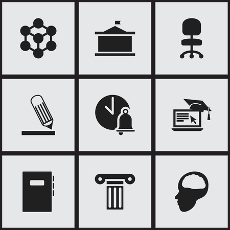 univercity: Set Of 9 Editable Science Icons. Includes Symbols Such As Writing, Univercity, Molecule And More. Can Be Used For Web, Mobile, UI And Infographic Design. Illustration