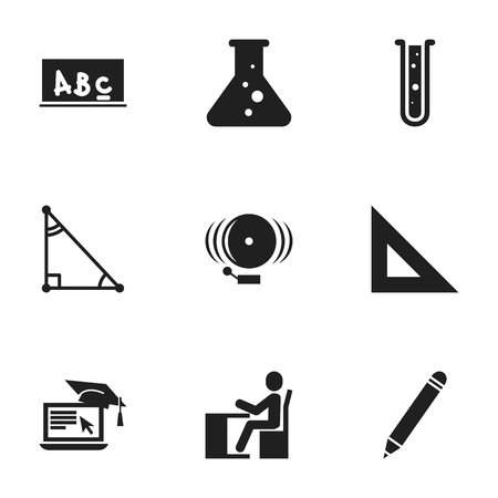 baccalaureate: Set Of 9 Editable Science Icons. Includes Symbols Such As Flask, Triangle, Ring And More. Can Be Used For Web, Mobile, UI And Infographic Design.
