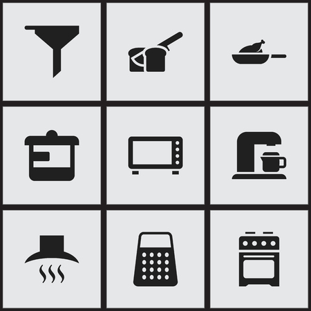 Set Of 9 Editable Meal Icons. Includes Symbols Such As Drink Maker, Utensil, Grill And More. Can Be Used For Web, Mobile, UI And Infographic Design.