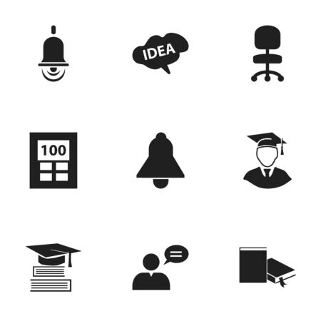 baccalaureate: Set Of 9 Editable School Icons. Includes Symbols Such As Alarm Bell, Thinking Man, Bookmark And More. Can Be Used For Web, Mobile, UI And Infographic Design. Illustration
