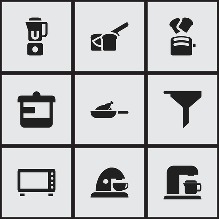 Set Of 9 Editable Cook Icons. Includes Symbols Such As Utensil, Cup, Drink Maker And More. Can Be Used For Web, Mobile, UI And Infographic Design.