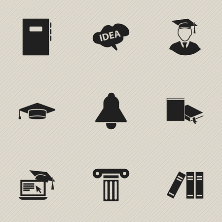 Set Of 9 Editable Science Icons. Includes Symbols Such As Bell, Workbook, Mind And More.