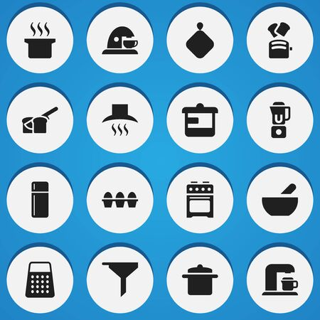 Set Of 16 Editable Cook Icons. Includes Symbols Such As Bakery, Filtering, Shredder And More. Can Be Used For Web, Mobile, UI And Infographic Design.