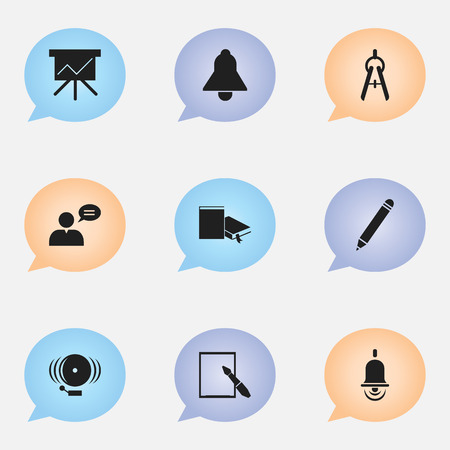 Set Of 9 Editable Education Icons. Includes Symbols Such As Bookmark, Alarm Bell, Notepaper And More. Can Be Used For Web, Mobile, UI And Infographic Design. Illustration