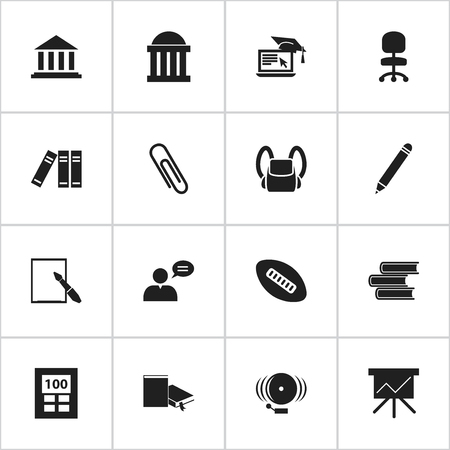 Set Of 16 Editable School Icons. Includes Symbols Such As Notepaper, Library, Ring And More. Can Be Used For Web, Mobile, UI And Infographic Design.