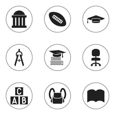 Set Of 9 Editable Education Icons. Includes Symbols Such As Courtroom, Schoolbag, Dictionary And More. Can Be Used For Web, Mobile, UI And Infographic Design.