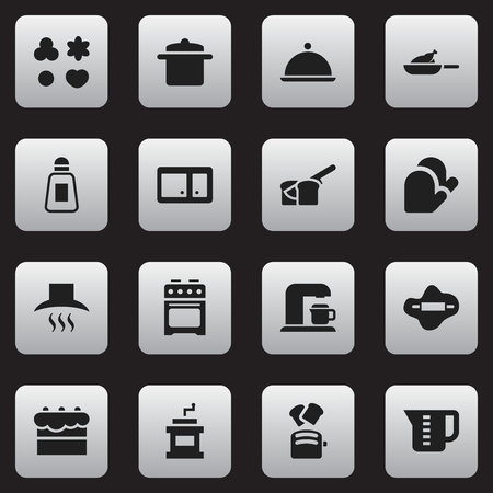 sideboard: Set Of 16 Editable Cooking Icons. Includes Symbols Such As Sideboard, Cookware And More. Can Be Used For Web, Mobile, UI And Infographic Design.