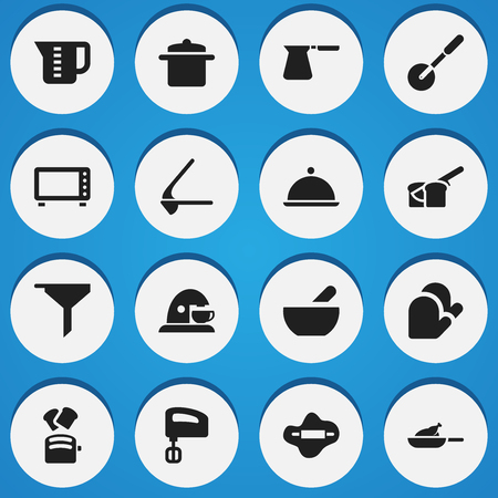 Set Of 16 Editable Cooking Icons. Includes Symbols Such As Coffee Pot, Grill, Cookware And More. Can Be Used For Web, Mobile, UI And Infographic Design. Illustration