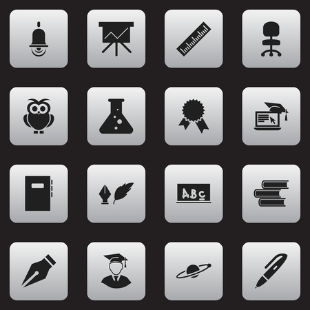 Set Of 16 Editable University Icons. Includes Symbols Such As Distance Learning, Work Seat, School Board And More. Can Be Used For Web, Mobile, UI And Infographic Design. Illustration