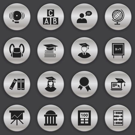 Ensemble de 16 icônes universitaires modifiables. Comprend des symboles tels que la planète Terre, un homme diplômé, une salle d?audience, etc. Peut être utilisé pour la conception Web, mobile, UI et infographique.