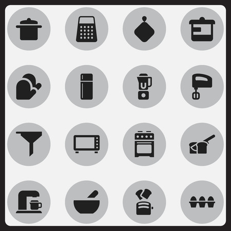 Set Of 16 Editable Food Icons. Includes Symbols Such As Bakery, Filtering, Egg Carton And More. Can Be Used For Web, Mobile, UI And Infographic Design.