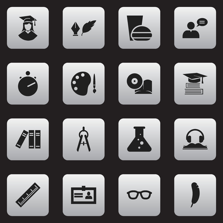 Set Of 16 Editable School Icons. Includes Symbols Such As Math Tool, Chemistry, Thinking Man And More. Can Be Used For Web, Mobile, UI And Infographic Design. Illustration