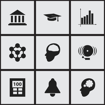 Set Of 9 Editable Science Icons. Includes Symbols Such As Museum, Graph, Cerebrum And More. Can Be Used For Web, Mobile, UI And Infographic Design. Illustration