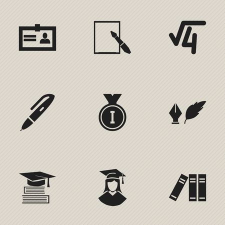 Set Of 9 Editable Science Icons. Includes Symbols Such As Pen, Education, First Place And More. Can Be Used For Web, Mobile, UI And Infographic Design.