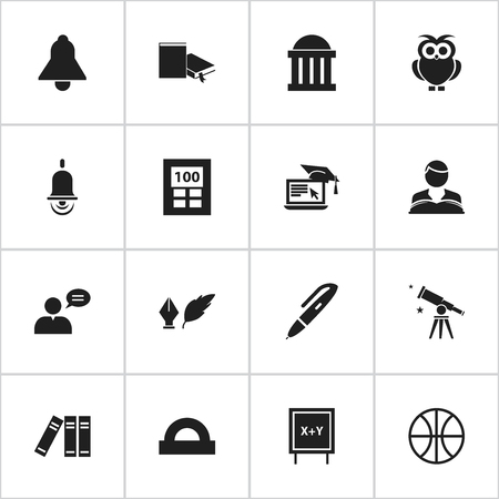Set Of 16 Editable Science Icons. Includes Symbols Such As Alarm Bell, Calculator, Courtroom And More. Can Be Used For Web, Mobile, UI And Infographic Design.